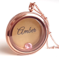 FL49 - Rose Gold Floating Locket Necklace Set with personalized disc & birthstone