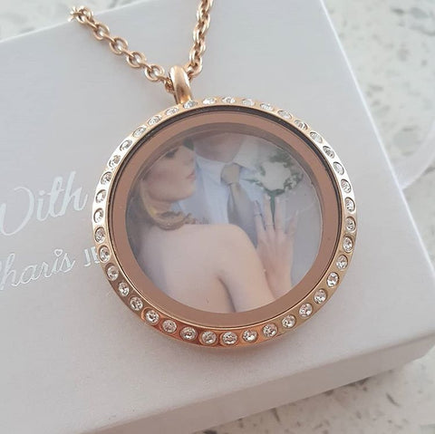 SET20 - Personalized Photo Floating Locket, Rose Gold Stainless Steel