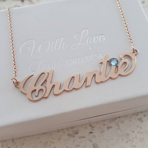 N63 - Rose gold personalized Jessica name necklace with birthstone