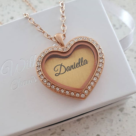 SET32 - Personalized Heart Floating Locket Necklace, RoseGold CZ Stones