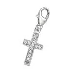 C228-C72 - 925 Sterling Silver Cross with Stones Charm