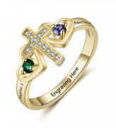 N2050 - Personalized Gold 925 Sterling Silver Cross Birthstone Ring