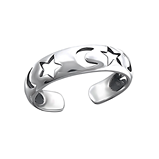 C994-C15853 - 925 Sterling Silver Moon and Stars Toe Ring, Adjustable