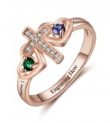 N2049 - Personalized Rose Gold 925 Sterling Silver Cross Birthstone Ring