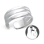 B62-C2496 - 925 Sterling Silver Triple Band Toe Ring, adjustable