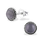 C909-C32470 - 925 Sterling Silver Graphite Cat Eye Ear Stud Earings 7mm
