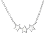 C969-C35271 - 925 Sterling Silver Triple Star Necklace
