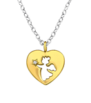 C959-C36309 - 925 Sterling Silver with Gold Plated CZ Heart Necklace