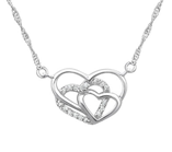 C965-C23195 - 925 Sterling Silver CZ Triple Heart Necklace