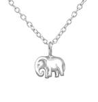 C962-C32229 - 925 Sterling Silver Tiny Elephant Necklace