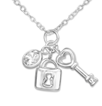 B472-C34901 - 925 Sterling Silver CZ Lock and Key Necklace