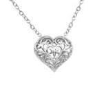C1255-C26246 - 925 Sterling Silver Filligree Heart Necklace