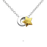 C1258-C21918 - 925 Sterling Silver Moon and Star Necklace
