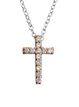 C1251-C27817 - 925 Sterling Silver Rose Gold CZ Cross Necklace