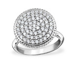 C33133 - 925 Sterling Silver Round Cubic Zirconia Ring 15mm