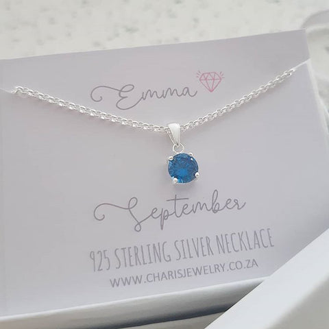 C33212 - 925 Sterling Silver September Birthstone Necklace,  Personalized Card