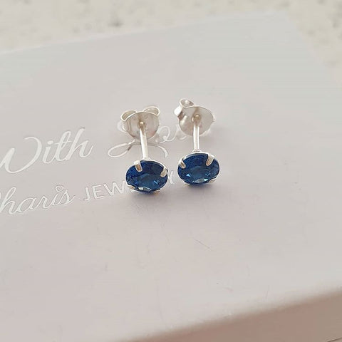 C791-C33205 - 925 Sterling Silver Birthstone Jan-Dec CZ Earrings 5mm