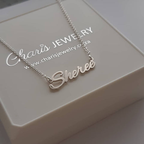 N786 - 925 Sterling Silver Personalized Handwriting Signature Name Necklace