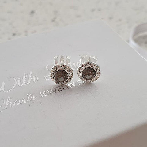 Silver black swarovski crystal earrings