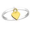 B68-C33831 - 925 Sterling Silver dangle Heart Ring