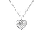 C955-C36365 - 925 Sterling Silver CZ Heart Necklace