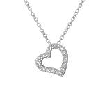 B110-C33891 - 925 Sterling Silver CZ Heart Necklace