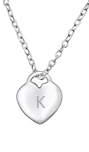 C747-C25041 - 925 Sterling Silver Personalized Initial Scratch Engraved Heart necklace