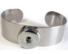 20SB-02 - Stainless Steel Wide Bangle for Large Snap Button Charms