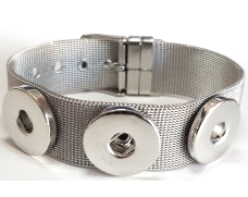 20SB-04 - Stainless Steel Mesh Adjustable Bracelet for Large Snap Buttons