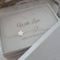 Sterling silver moon and star bracelet online jewellery shop in SA
