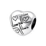 A12-C17230 - 925 Sterling Silver I love you European Charm Bead