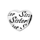 C59-C17127 - 925 Sterling Silver Sister Heart European Charm Bead