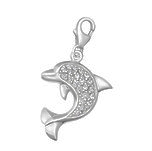C357-C5964 - 925 Sterling Silver Large CZ Stone Dolphin Charm