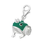 C81-C11833 -  925 Sterling Silver Frog Prince with Crown Charm Dangle