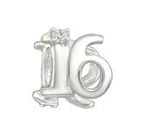 Sterling Silver CZ Stone 16 European charm bead, 16th Birthday