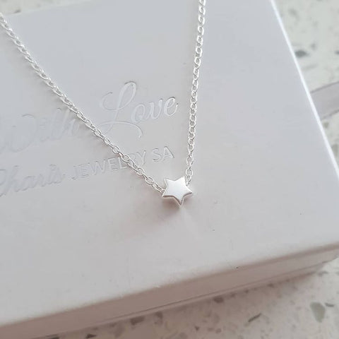 A245-C29897 - 925 Sterling Silver Tiny Star Necklace