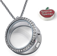 T4 - Teacher Floating Locket Necklace with Special Teacher charm, Stainless Steel