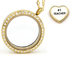 T5 - Teachers Locket Necklace with #1 Teacher charm, Gold Stainless Steel