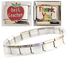 T3B - Teacher Italian Charm Bracelet with Best Teacher & Thank you charms, Stainless Steel