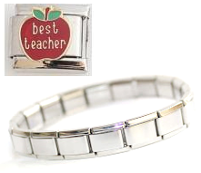 T3 - Teacher Italian Charm Bracelet, with Best Teacher Charm, Stainless Steel