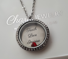 T2 - Teach Love Inspire, Teachers Locket Necklace, Stainless Steel