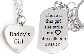 EJ42 - Stainless Steel Dad & Daughter Personalized Necklace & Dogtag or Keyring