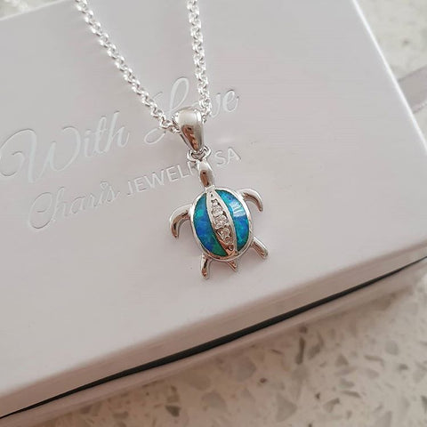 C34309 - 925 Sterling Silver Turtle SN Opal Necklace