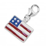 925 Sterling Silver USA American Flag Charm Dangle