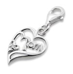 C802-C11434 - 925 Sterling Silver Mom Heart Charm Dangle.