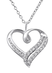 C804-C23852 - 925 Sterling Silver CZ Double Heart Necklace