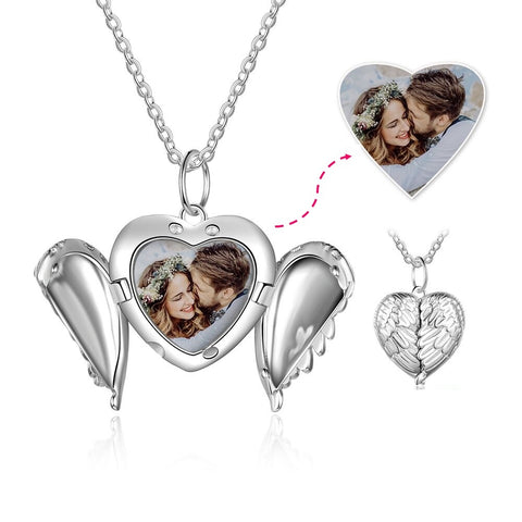 CNE103618 - 925 Sterling Silver Personalized Photo Wing Locket Necklace