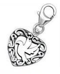 C28-C24584 - 925 Sterling Silver Dove Heart Charm Dangle