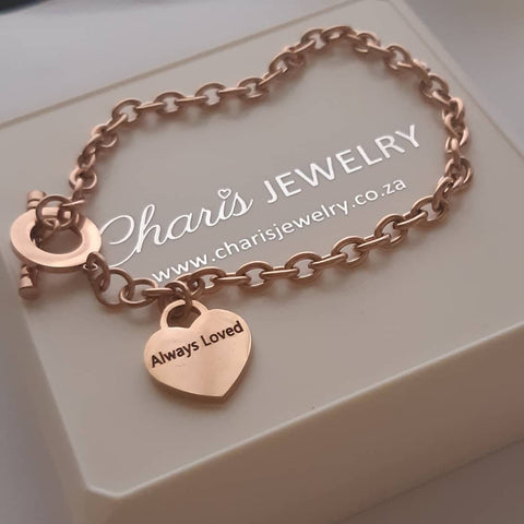 Rose gold personalized bracelet, online jewellery shop in SA