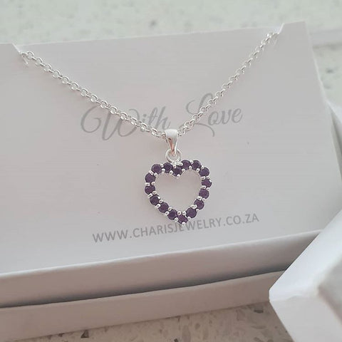 C13071 - 925 Sterling Silver Amethyst / Clear CZ Stone Heart Necklace